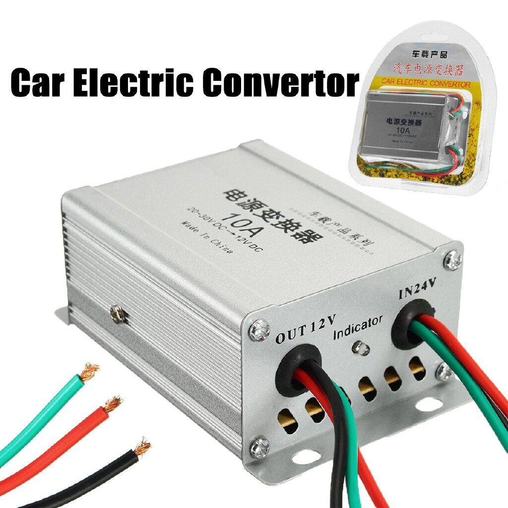 Car Accessories - Car Electric Convertor Truck 10A 120W DC 24V to 12V Power Inverter Transformer - Automotive