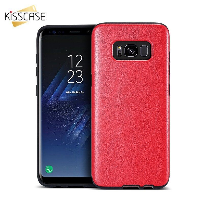 iPh Soft Cover - KISSCASS Bracket Case mobile phone box case For Samsung s8 - RED / BROWN / PINK / BLACK