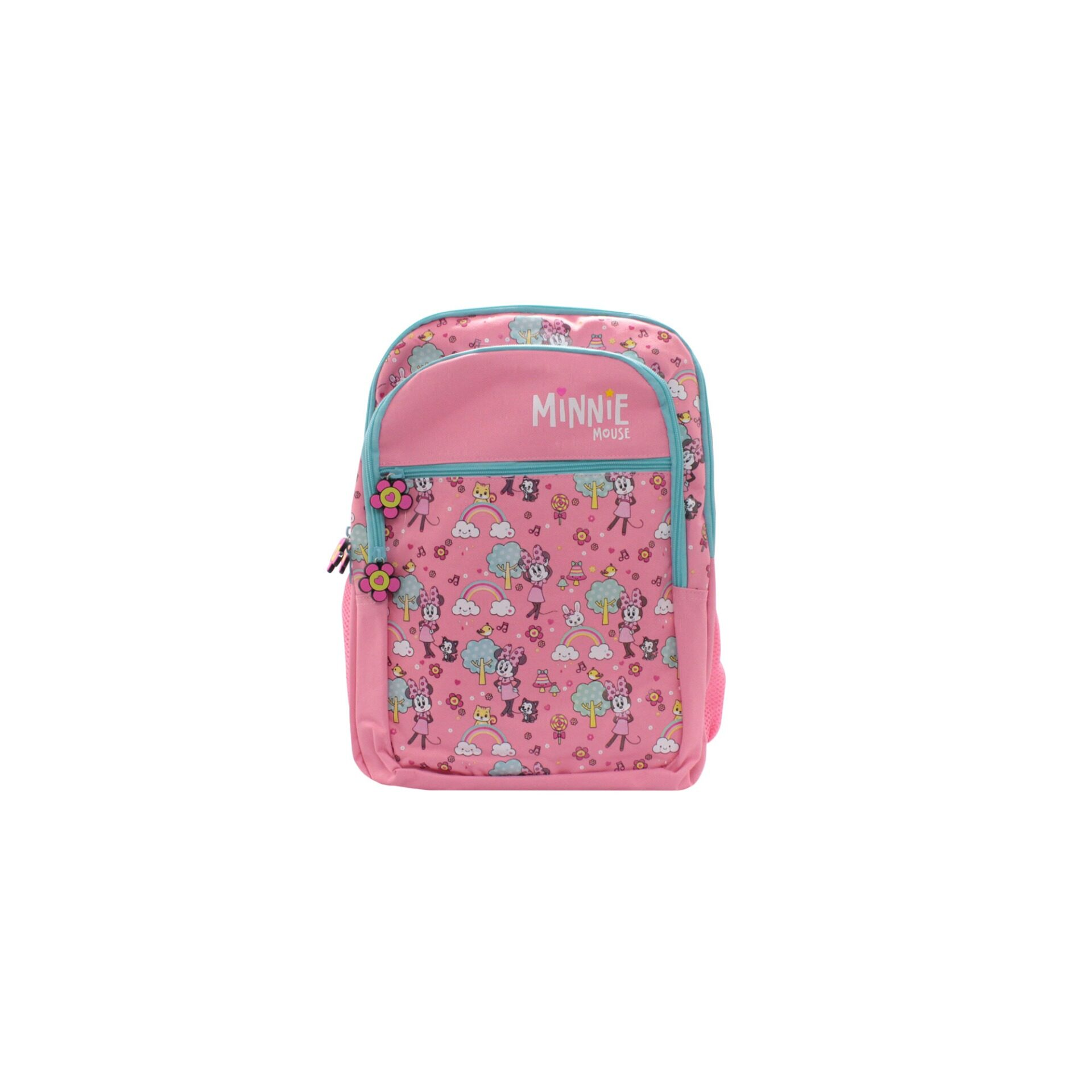 Disney Minnie Mouse Rainbows & Candies With Front Zipper Pouch Kids Girls School Bag (Pink) Age 7 Years & Above