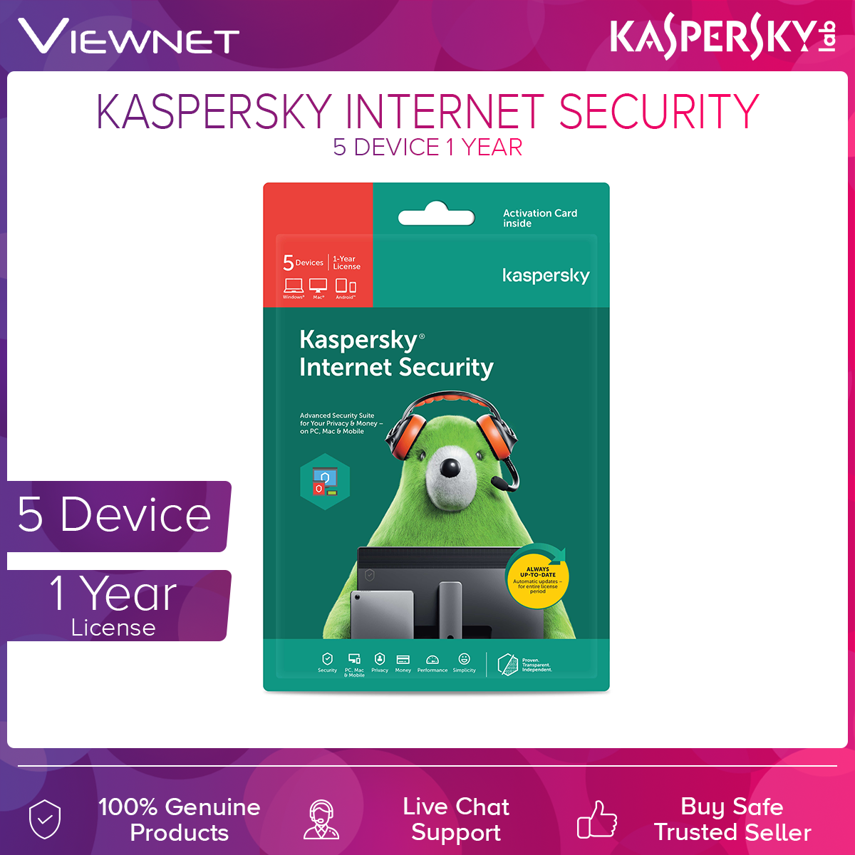Kaspersky Internet Security 5 Device 1 Year License