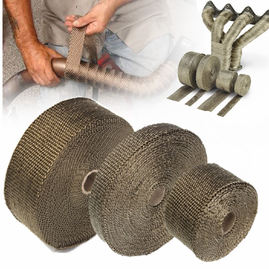 Automotive Tools & Equipment - 2 x15M Titanium Exhaust Heat Wrap Roll Cable Pipe With 6 Stainless Ties Kit - Car Replacement Parts