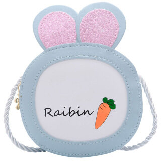 PU Leather Cartoon Kids Bag, Boys Girls Shoulder Bag Korean Small Round Bag, Cute Rabbit Crossbody Bag Coin Purse thumbnail