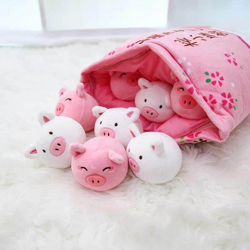 7shop8 pcs small plush sea lion toy in a bag pillo w pudding stuffed soft sea animal doll whale toy for children girl birthday gift