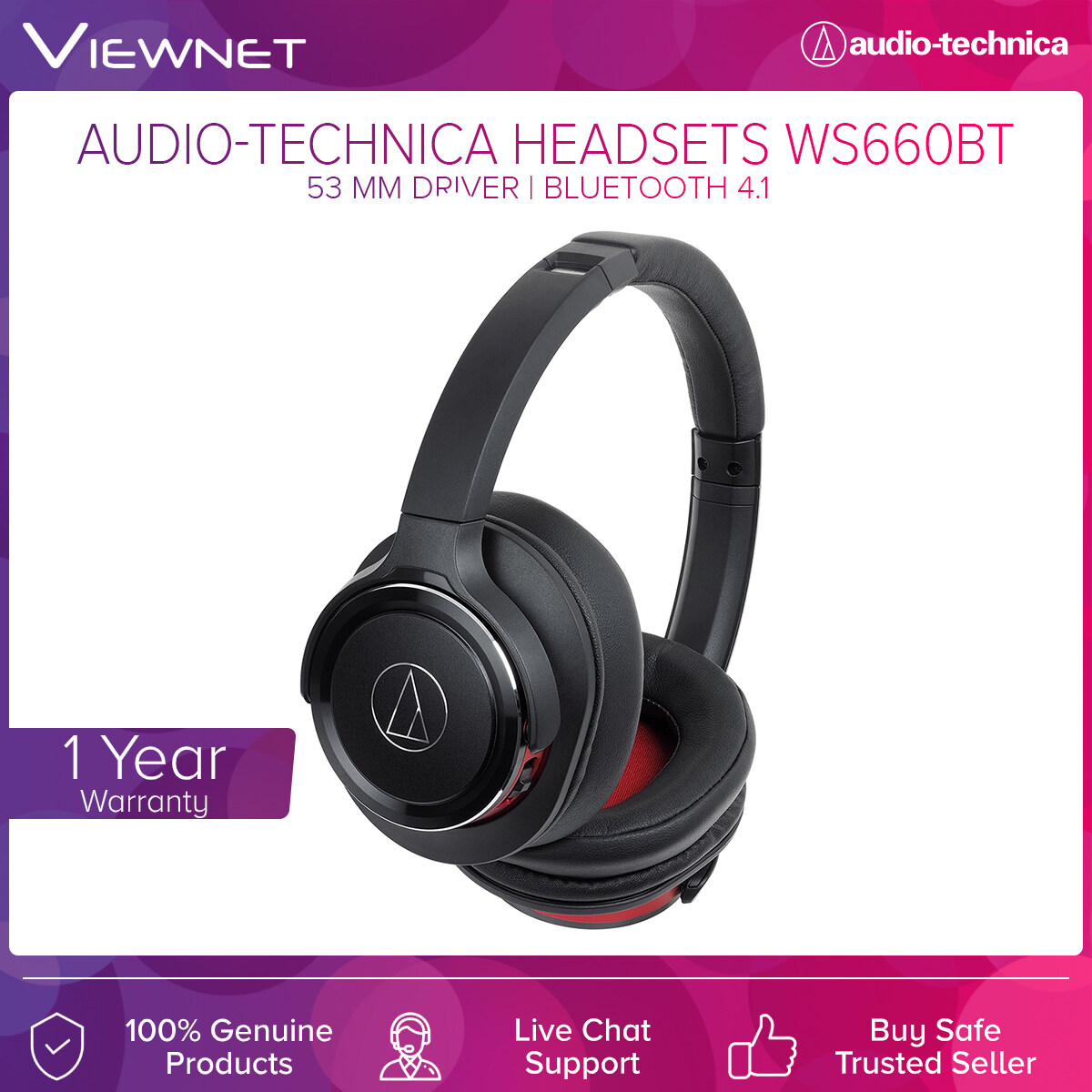 Audio-Technica Wireless Headsets ATH-WS660BT with 53mm Driver, Bluetooth 4.1, Noise Cancelling, Solid Bass, 8 - 29,000 Hz Frequency, 40 Hours Battery Life
