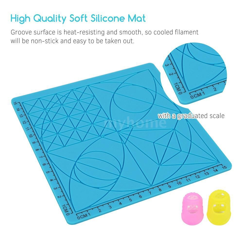 Printers & Projectors - 3D Printing Pen Design Mat Soft Silicone Copy Templates with Basic Shapes Extra Silicone Finger - BLUE-TYPE A&B&C&D / BLUE-TYPE D / BLUE-TYPE C / BLUE-TYPE B / BLUE-TYPE A