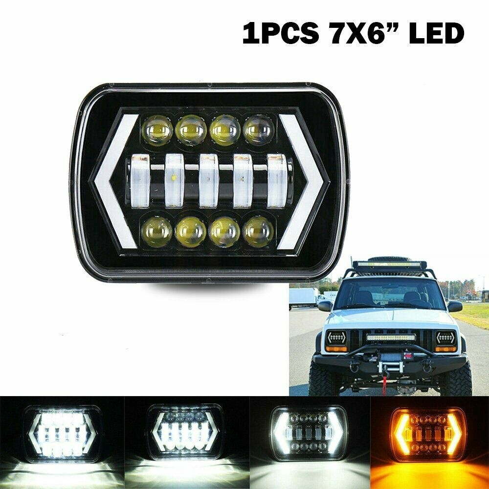 55W 7x6 5X7 Black LED Projector Headlight Hi-Lo Beam Halo DRL for Jeep Cherokee Truck IP67