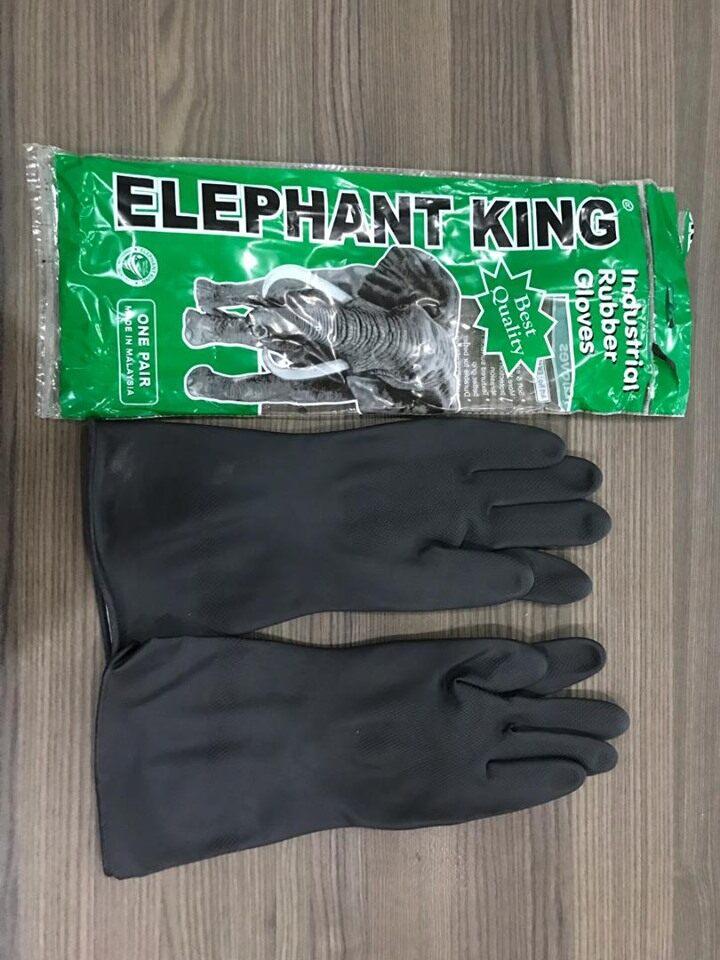 [100% ORIGINAL] Double Elephant Best Qqality / Black Industrial Rubber Glove (1 Pair / Pack)
