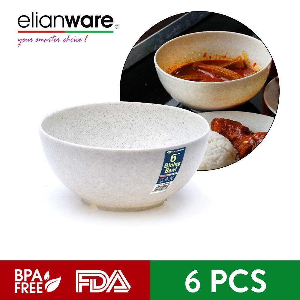 Elianware 6'' Marble Dining Bowl (6 Pcs Set) Big Soup Noodle Mangkuk Bowl Set