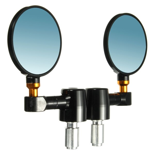 Moto Accessories - Pair CNC Motorcycle Bike 7/8'' 22mm Handlebar End Rear View Mirror Round Black - SILVER / BLACK