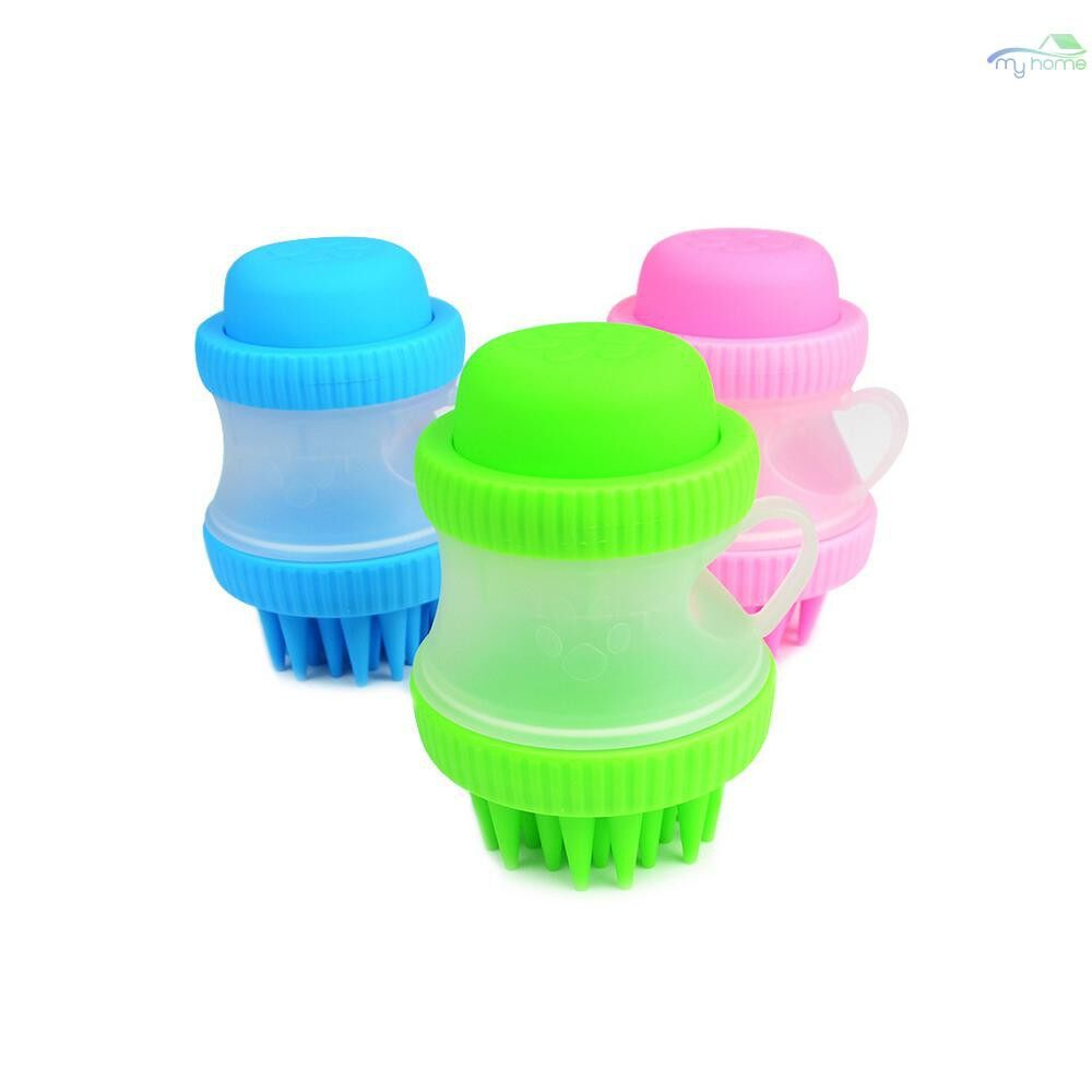 Protective Clothing & Equipment - Dog Cat Bath Brush Comb Cleaning Bath Massage Pet SPA Brush Shower Grooming Multifunction Silicone - BLUE