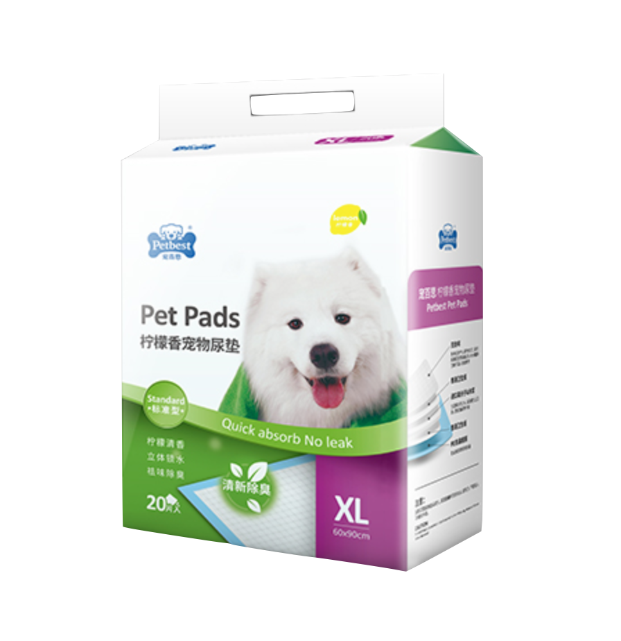 PETBEST【宠百思】Lemon Training Pet Pads / Wee Wee Pads / Urine Pads 柠檬香宠物尿垫  XL Size (60cm x 90cm) 20pcs