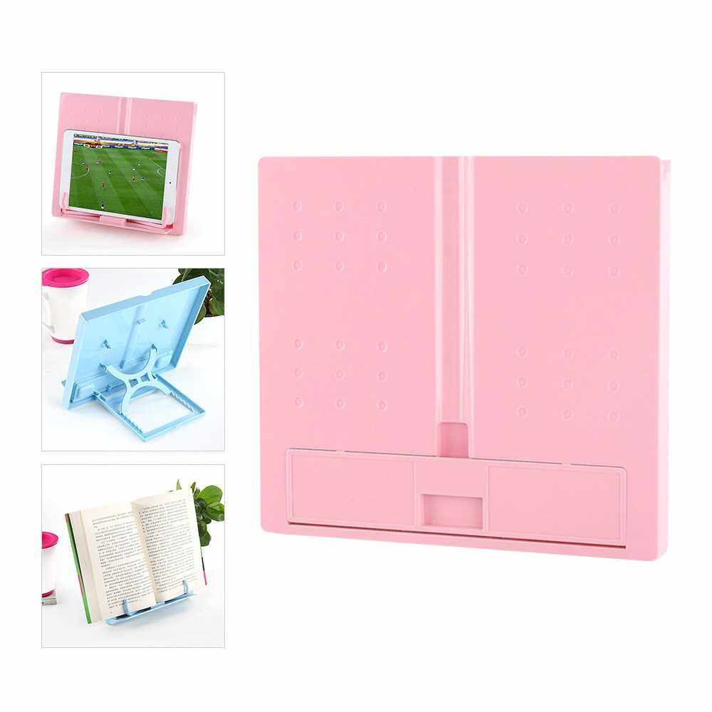 Portable Plastic Book Stand Foldable Book Document Holder Adjustable 6 Angles Bookstand Desk Reading Kitchen Stand for Cookbook Recipe Textbook Music Book Magazine Tablet (Pink)