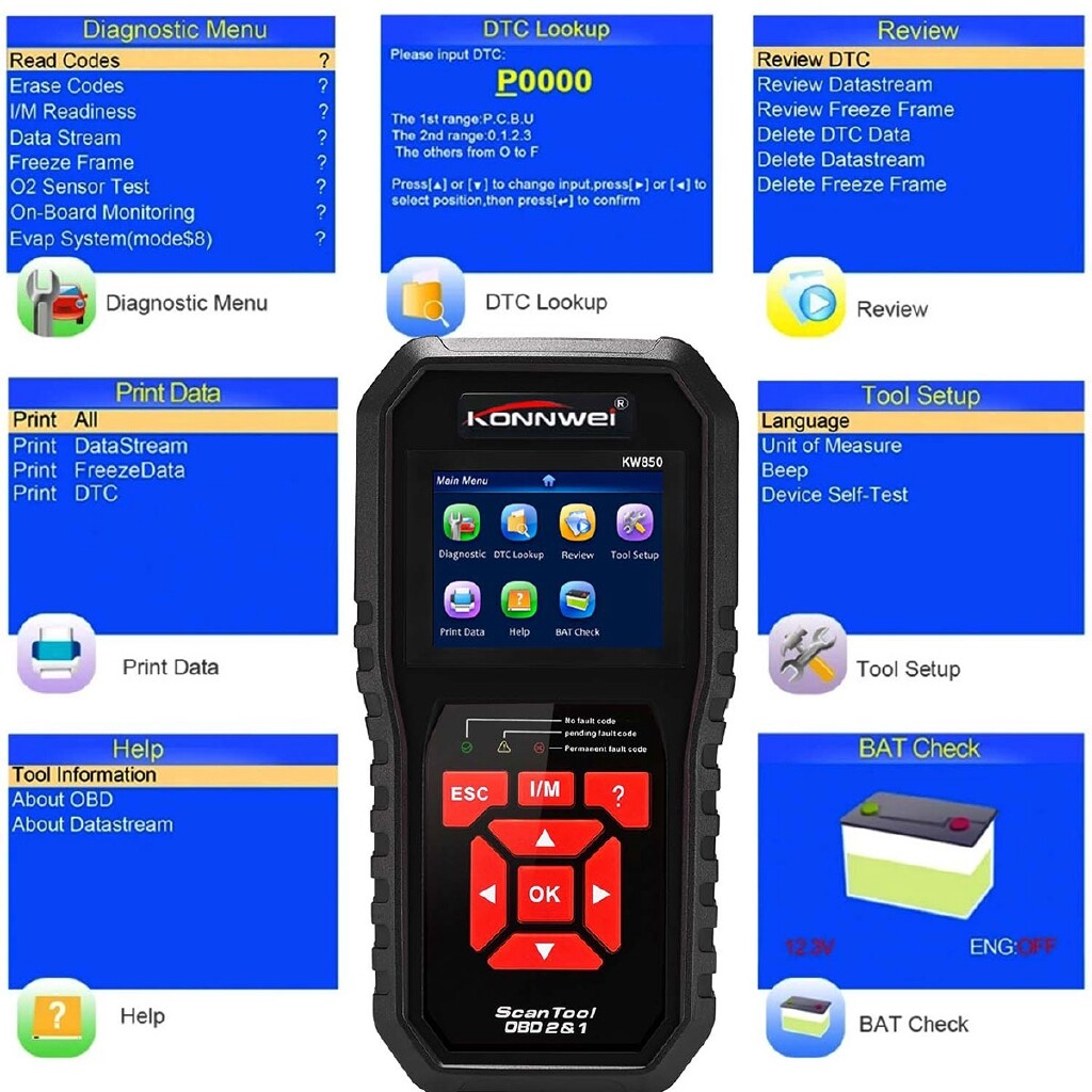 Automotive Tools & Equipment - ODB2 Scanner Auto Diagnostic Scanner Car Scanner KONNWEI KW850 Full Function - Car Replacement Parts