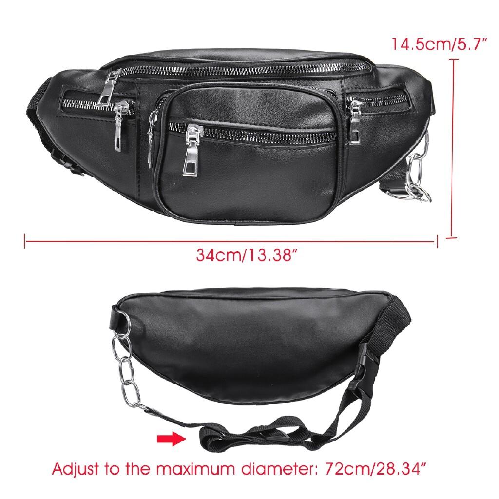 Storage Bins & Baskets - Women's Fanny Pack Purse Shoulder Chest Waist Bag Sport Chain Zipper PU Leather - DARK BLUE / BLACK / BROWN / WHITE / LIGHT BLUE
