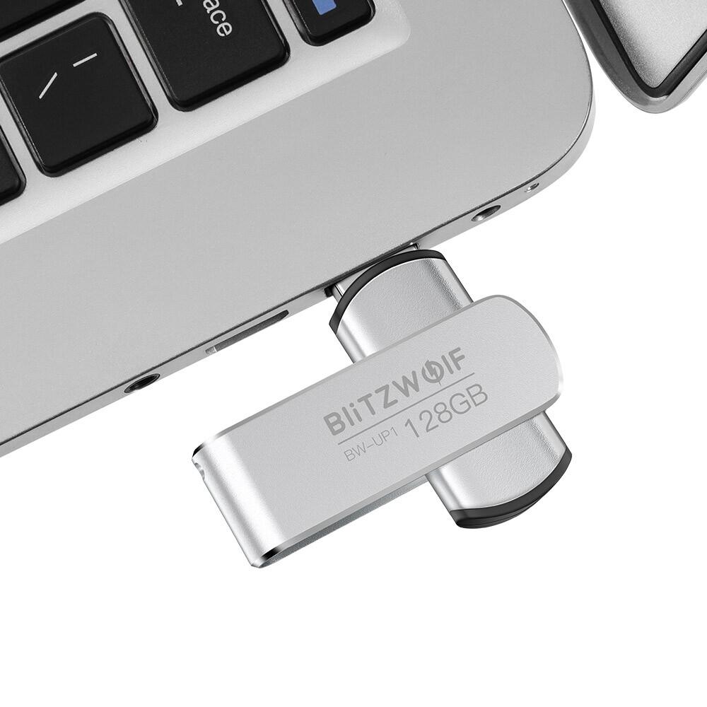 OTG USB - BlitzWolf BW-UP1 Aluminium Alloy 360 Rotating Cover USB 3.0 Flash Drive - 32G / 128G / 16G / 64G