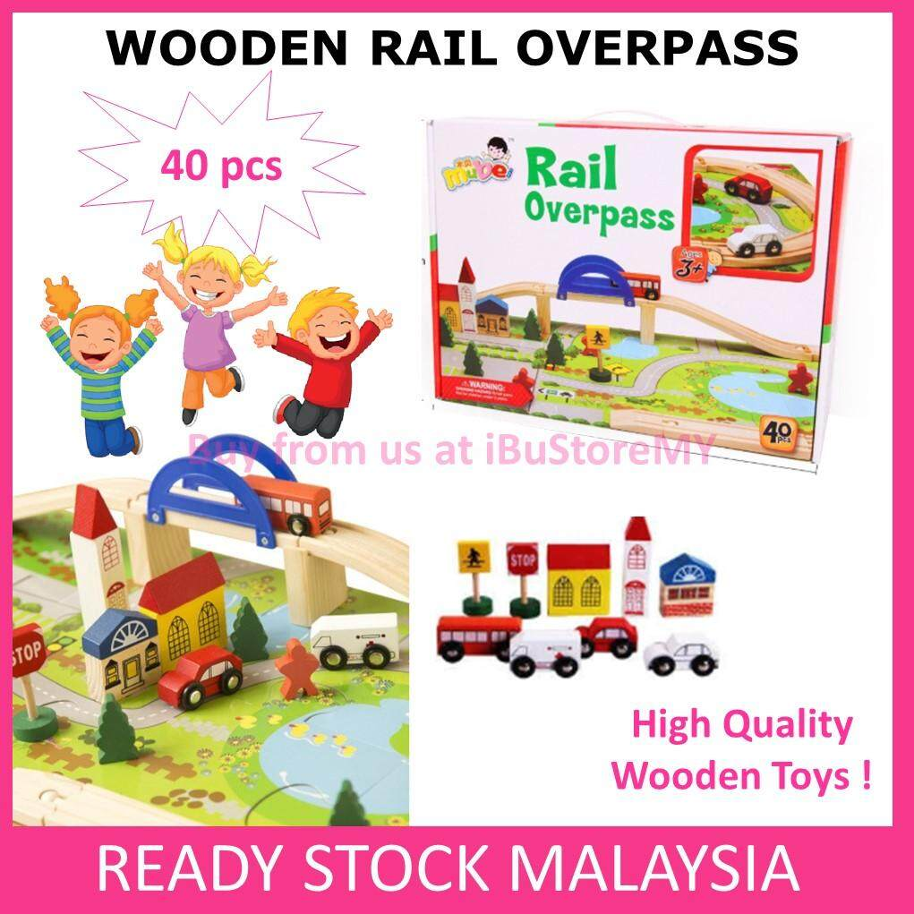 40pcs Rail Overpass Wooden Toy Kids Early Educational Learning Play Puzzle