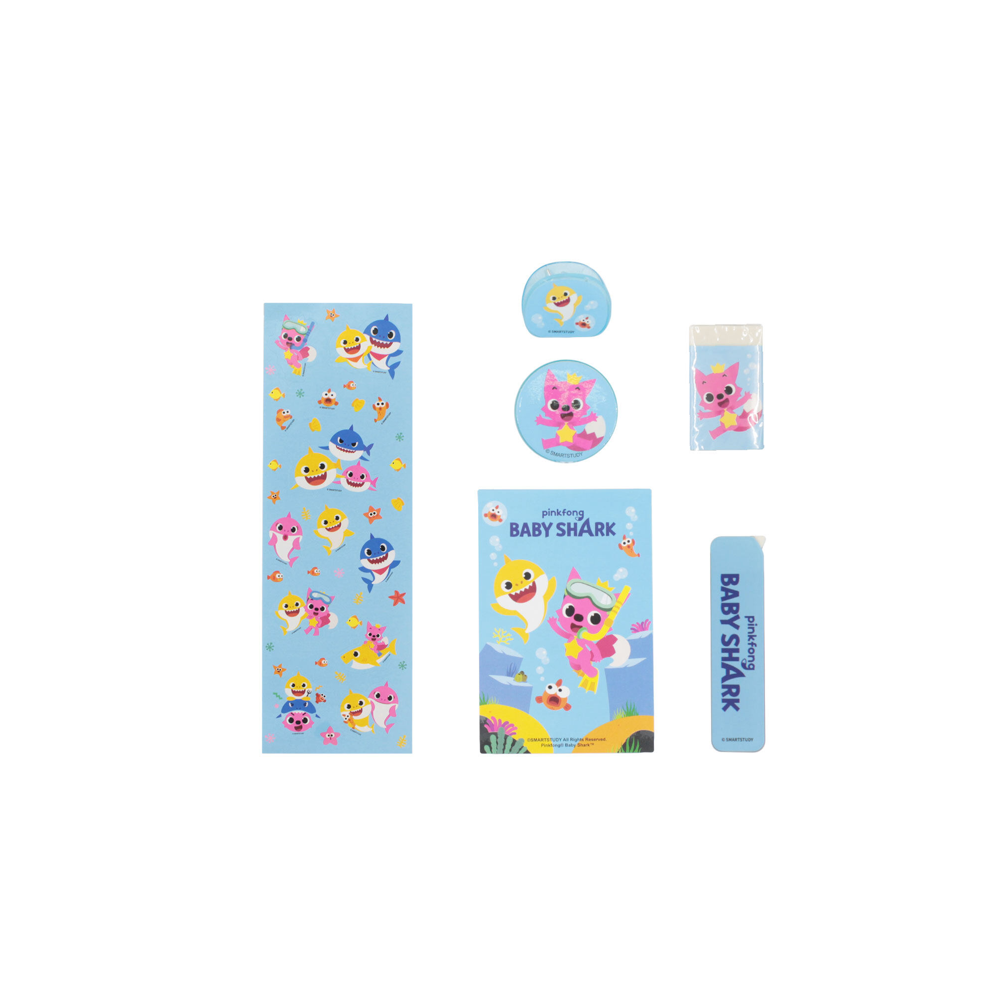 Pinkfong Baby Shark Children All In 1 Big Stationery Value Pack With 2 Pencils, 2 Mechanical Pencil, Ruler, Sharpener Eraser,Correction Tape Mini Notepad and Pencil Bag