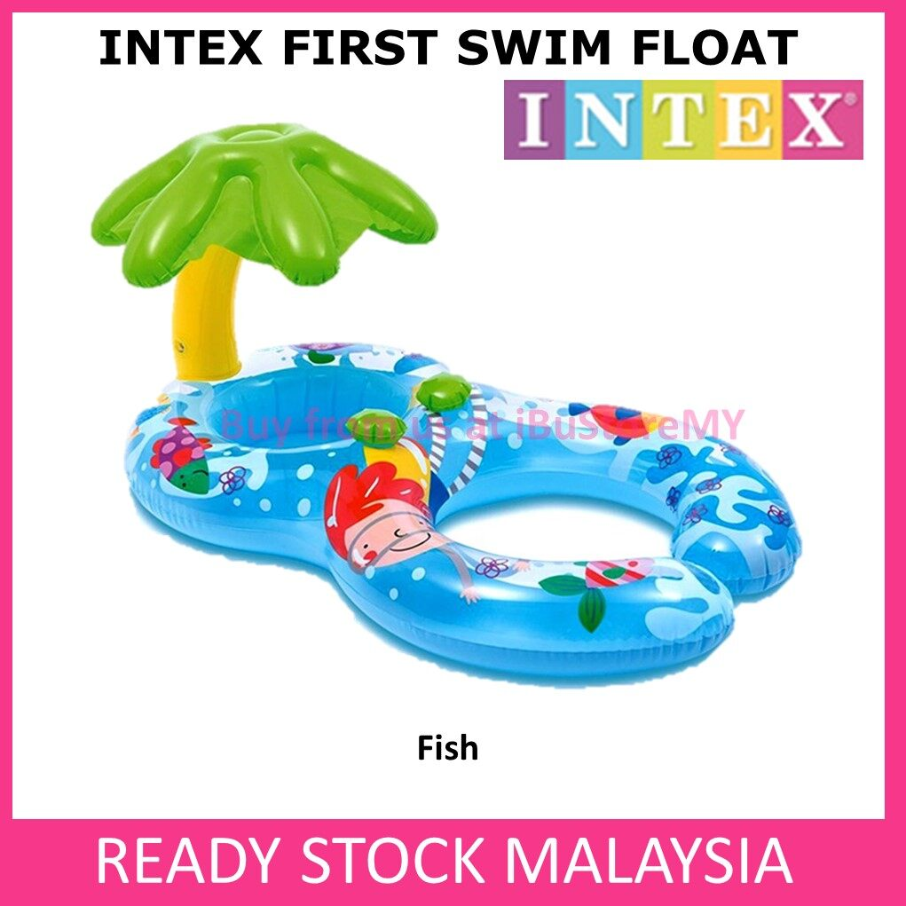 INTEX My First Swim Seat Float Inflatable Sun Shade Swimming Ring Water Fun Pool Baby And Mom