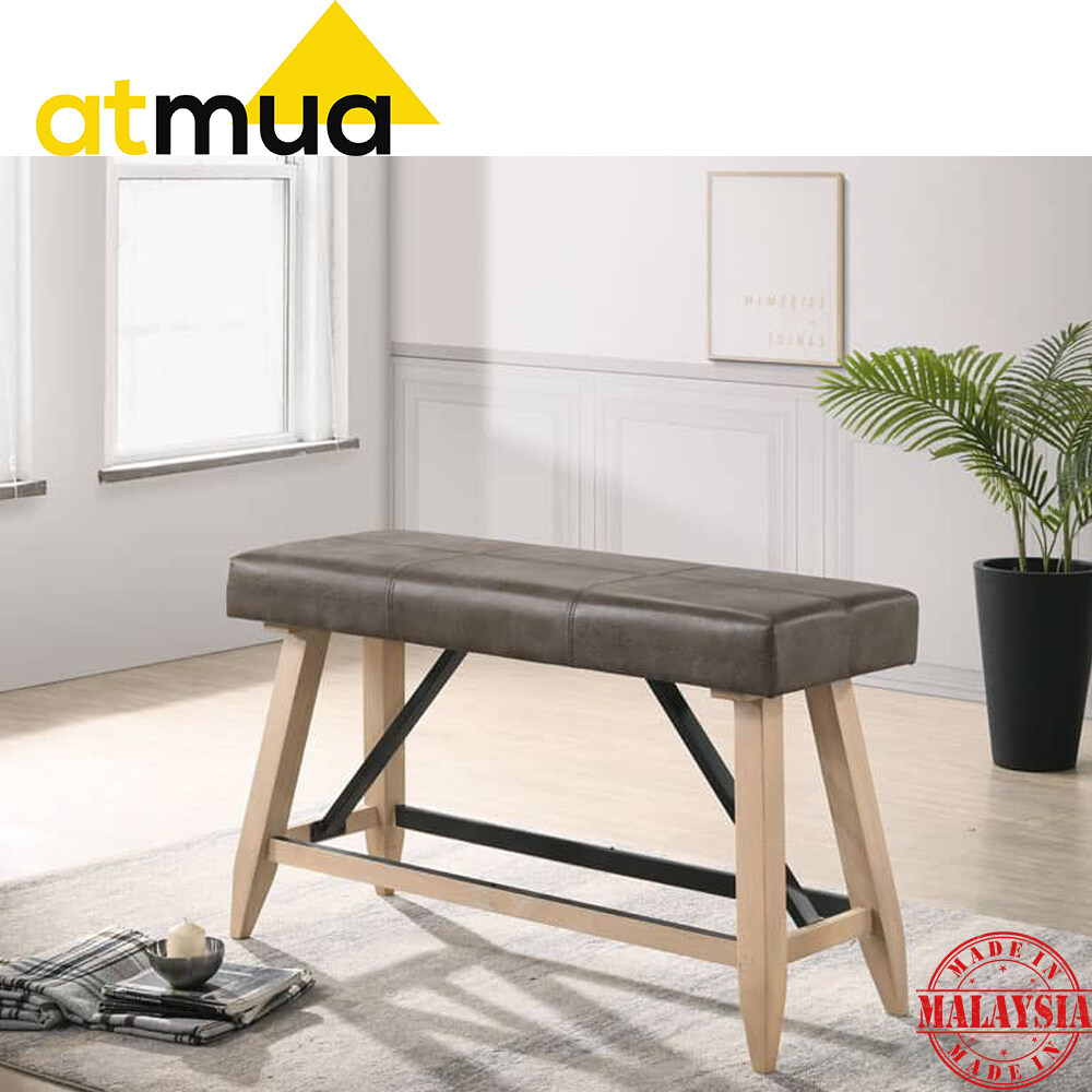 Atmua Furniture Ringo Counter Bench High Bench Bangku Tinggi (Seat Height 67cm) Solid Rubber Wood with Metal Support Sturdy and Strong