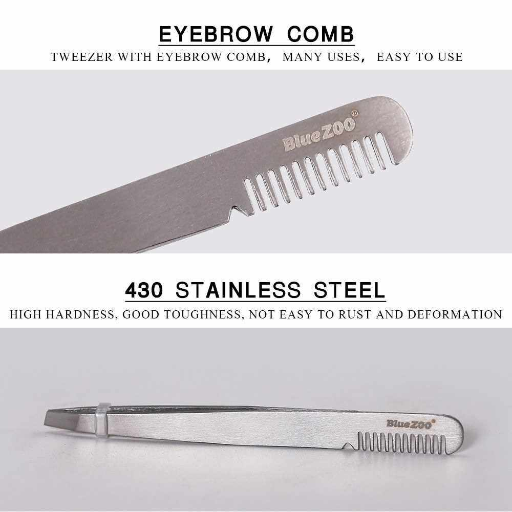 Best Selling Blue ZOO Stainless Steel Eyebrow Tweezer Clip with Eyebrow Comb Inclined Tip Eyelashes Extension Nipper Tweezers (1)