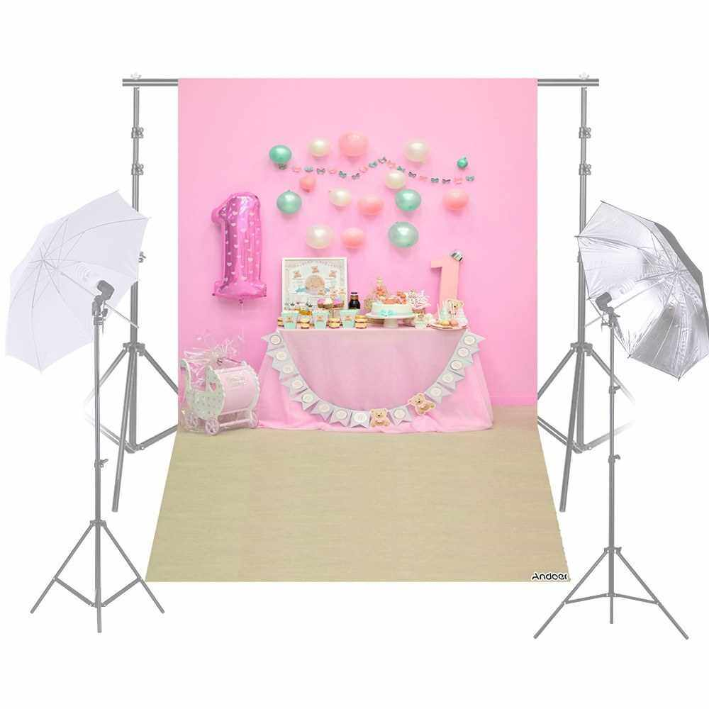 Andoer 1.5 * 2.1m/5 * 7ft First Birthday Party Photography Background Pink Balloon Cake Table Backdrop Baby Newborn Photo Studio Pros (7)