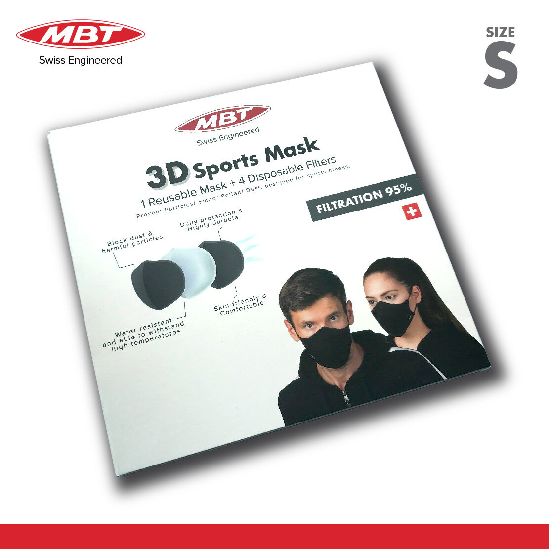 MBT 3D Sports Mask S Size With Multi-Layer Filtration