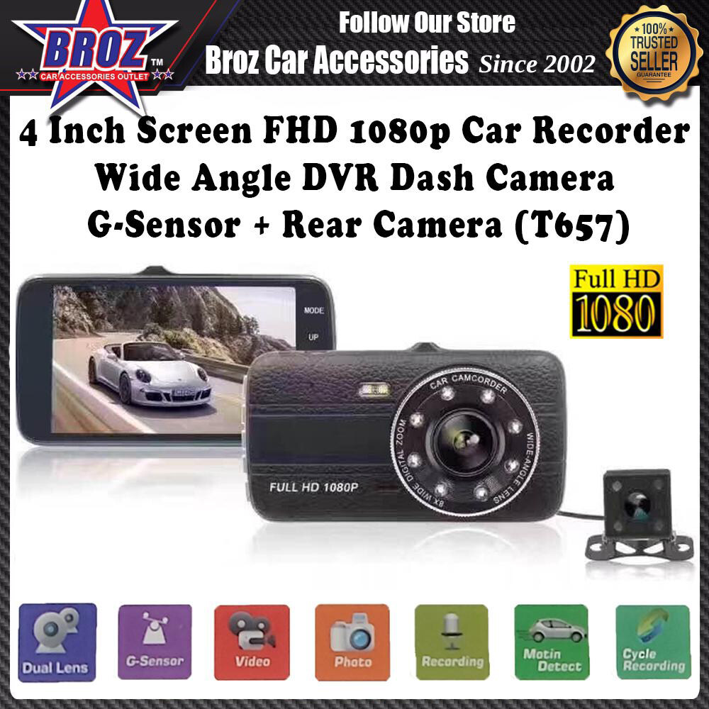 4 Inch Screen Full HD 1080p Car Recorder Wide Angle Dual Lens DVR Dash Camera G-Sensor + Rear Camera (T657)