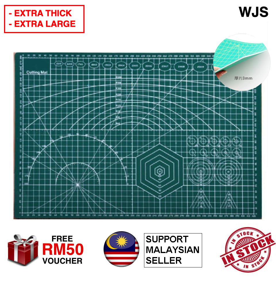 (EXTRA THICK) WJS Top Premium Extra Thick Cutting Mat With Blue Line Cut Pad Board Self Healing Cutting Mats Table Cloth Table Cover A1 A2 A3 A4 A5 Cutting Board MULTIPLE SIZE (FREE RM 50 VOUCHER)