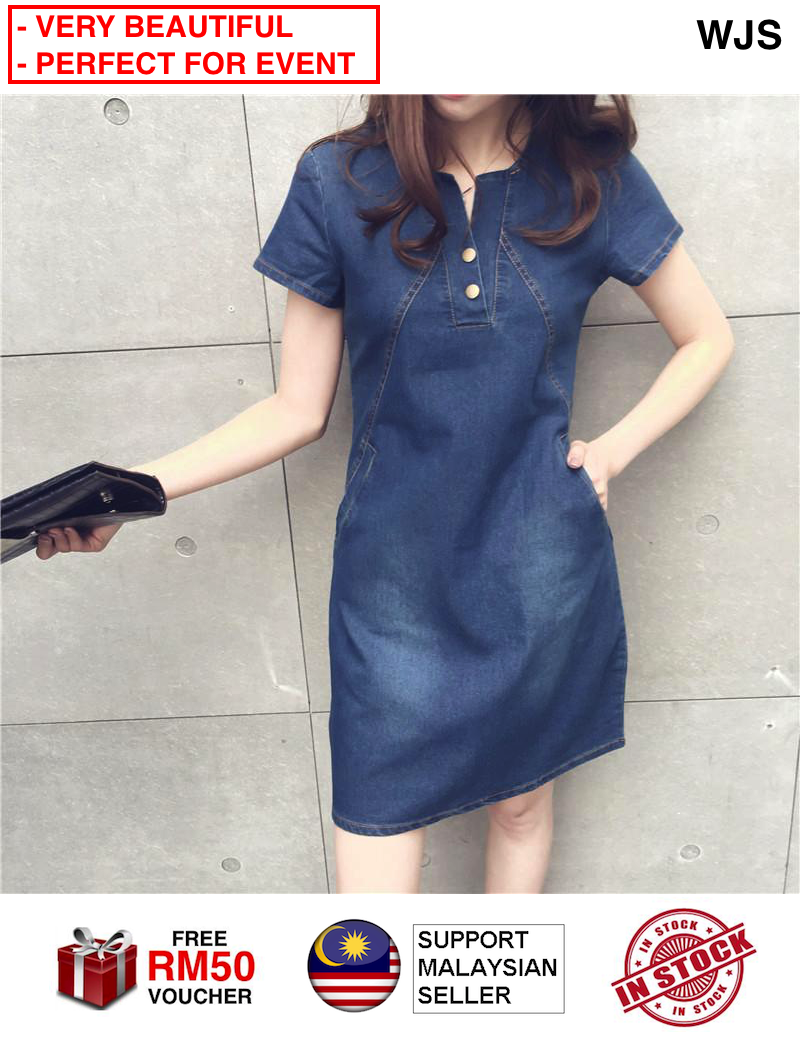 (PERFECT FOR ANY EVENT) WJS Elegant Comfortable Women Large Size Casual Short-sleeved Denim Dress Jeans Dress Plus Size Dresses UP TO 5XL DARK BLUE LIGHT BLUE [FREE RM 50 VOUCHER]