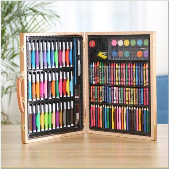 150pcs180/pcs Art Set Children Kid Watercolor Brush Crayon Painting Learning Colour Paint 150/180 木盒儿童礼品36色水彩笔蜡笔画画绘画美术