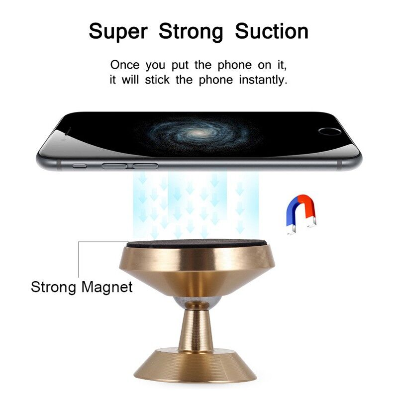 Magnetic Car Holder 360 Degree Dashboard Mobile Phone Holder Stand Magnet Car - BLACK / GOLD / SILVER