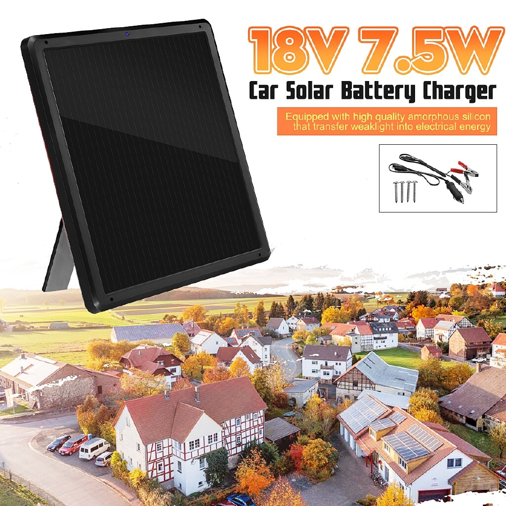 DIY Tools - 18V 7.5W Solar Panel Trickle Battery Charger Maintainer For Car Vehicle Charging - Home Improvement