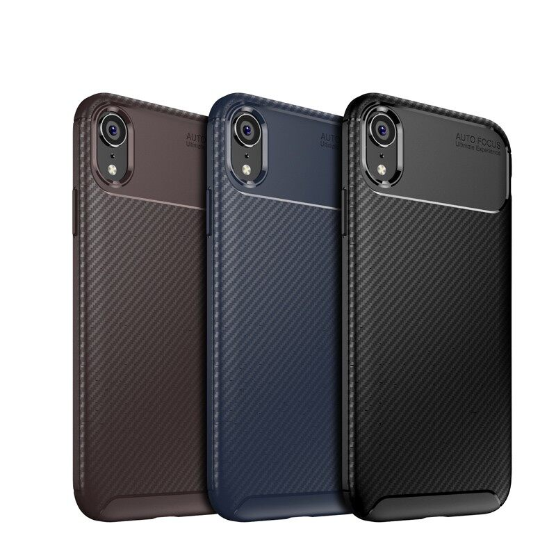 iPh Soft Cover - Protective Case For iPh XR Slim Carbon Fiber Soft TPU Back Cover - BLACK / BROWN / BLUE