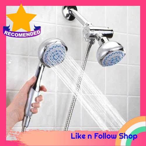 Bathroom Wall-mounted Dual Head 2 in 1 Bath Shower Spray Set