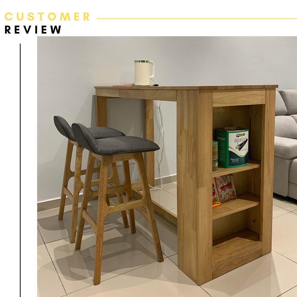 Atmua Atlas Bar Table + 2 Nick Bar Chair (Modern Deisgn) [Full Solid Rubber Wood]