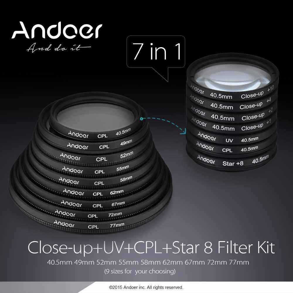 Andoer 58mm UV+CPL+Star8+Close-up (+1 +2 +4 +10) Photography Filter Ultraviolet Circular-Polarizing Star 8-Point Macro Close-up Lens Filter for Canon Nikon Sony DSLR Camera Lens (Standard)