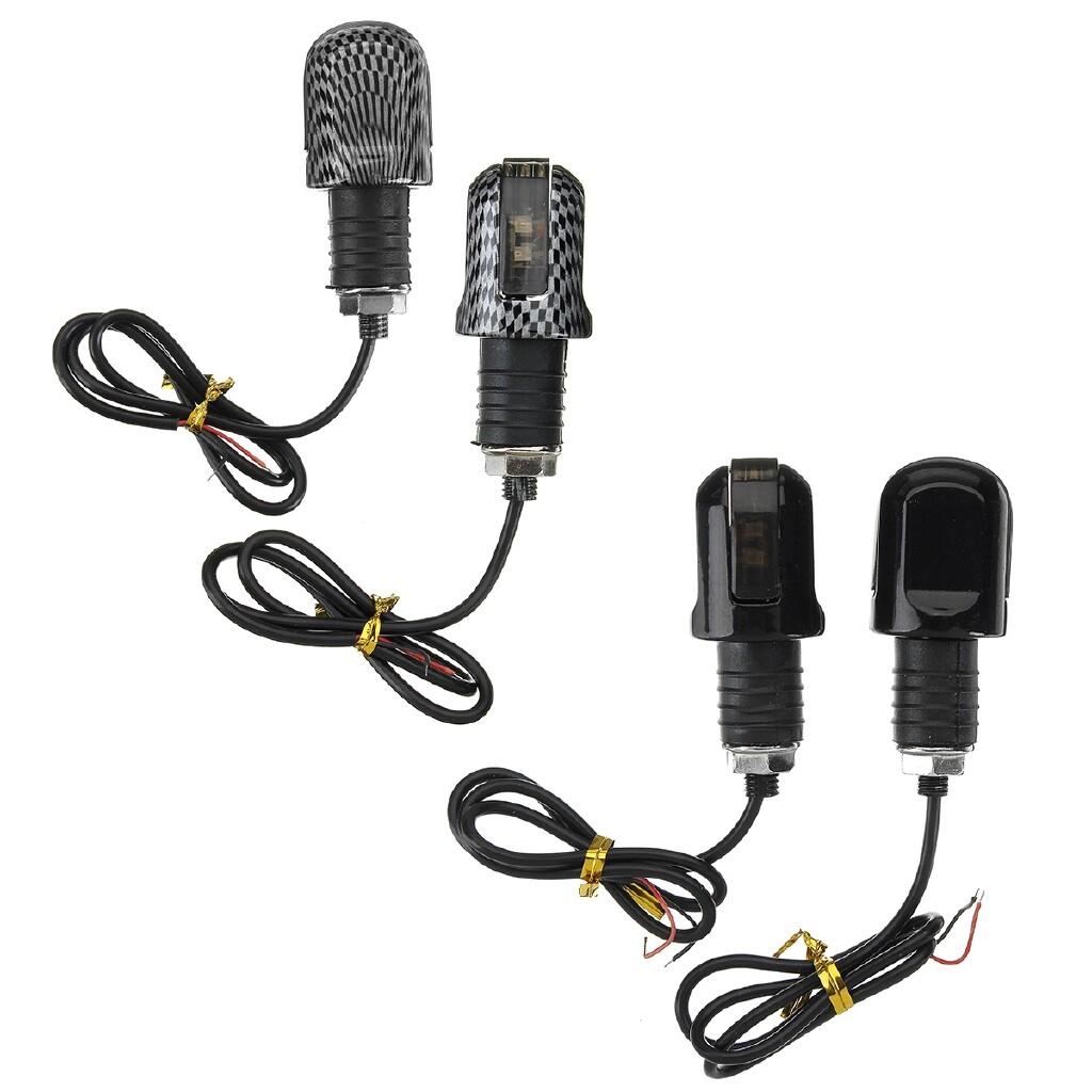 Moto Accessories - Universal Motorcycle Turn Signal LED Light Indicator Handle Bar End Handlebar - CARBON GRAIN / BRILLIANT BLACK