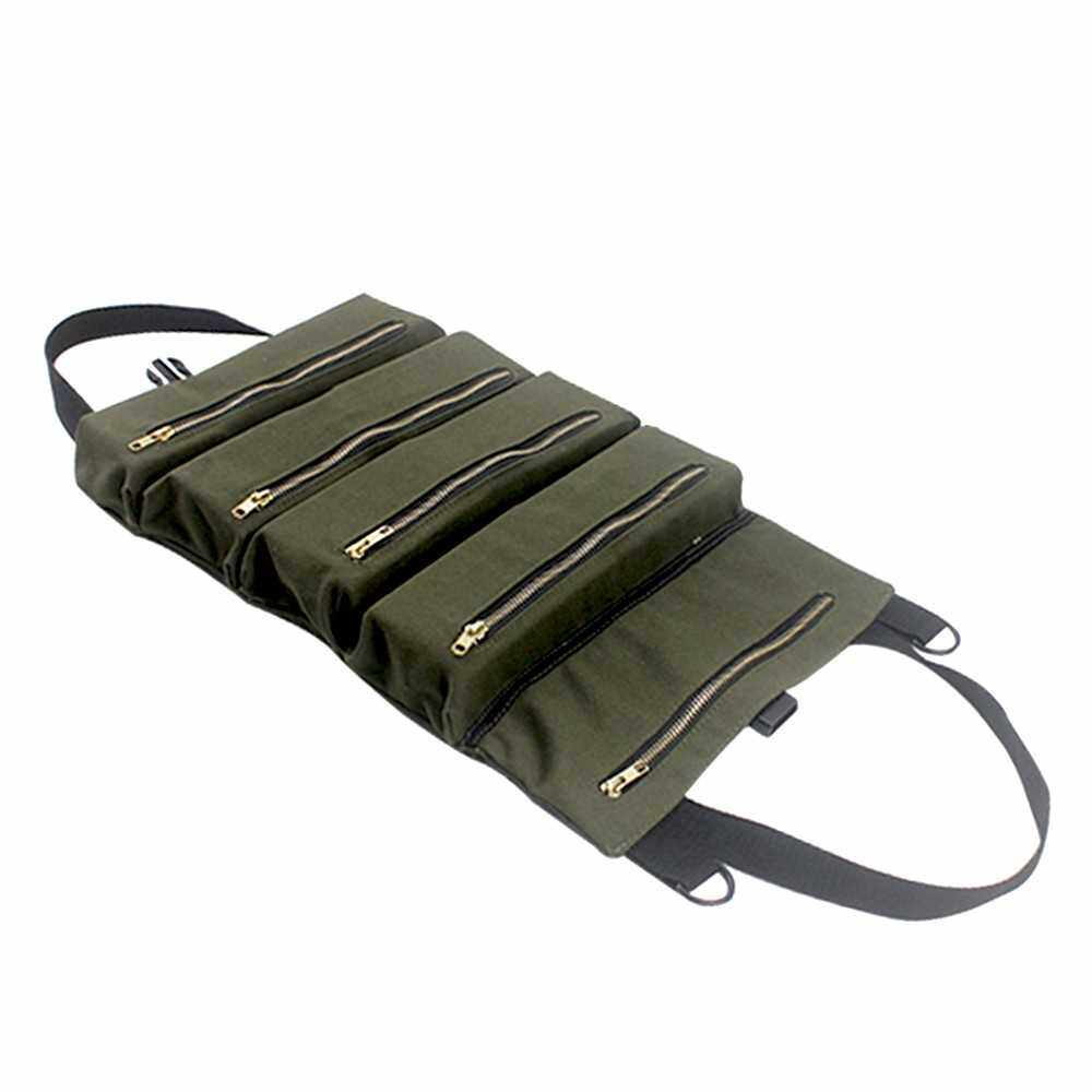 PENGGONG Tool Roll Up Bag Zippered Bag 5 Pockets Canvas Tool Organizer Portable Tool Roll-up Pouch Tool Bag Workbag Zipper Utility Tote (Standard)