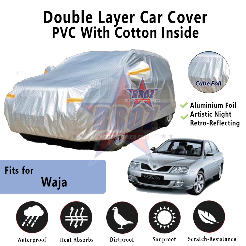 Waja High Quality Durable Anti Scratch Double Layer All Weather PVC Cotton Aluminium Foil Car Body Cover - L Size