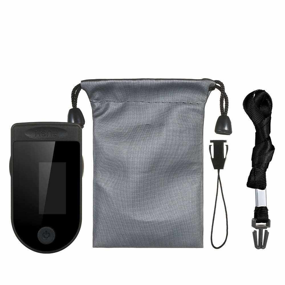 Fingertip Pulse Oximeter with Lanyard and Storage Bag Blood Oxygen Saturation & Heart Rate Detection Quick Measure & Auto-off Alarm Function Portable SpO2 & PR Monitor for Home Travel (Black)