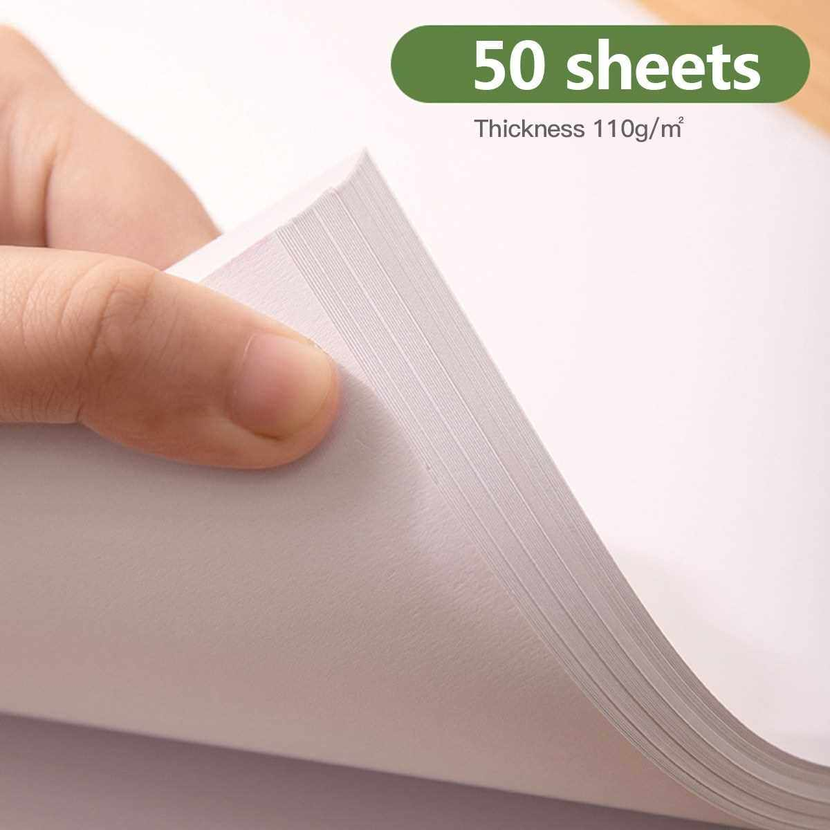 50 Sheets Loose-Leaf Sketchbook Professional A4 Art Painting Sketch Paper 8.2x11.4 Inch for Drawing Journaling Sketching Doodling (Green)