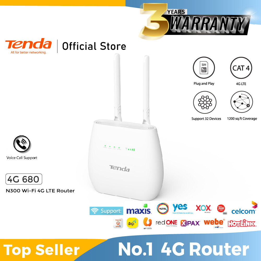 Tenda 4G680 V2.0 N300 4G LTE  WiFi SIM Router(Supports Unifi Air /Digi/Maxis/Celcom/YES/Umobile) Tenda 4G680 300Mbps 4G Mobile Wi-Fi Router SIM Slot Unlocked No Configuration required 2 Detachable Antennas 2 Gigabit Ports Data Traffic Monitoring