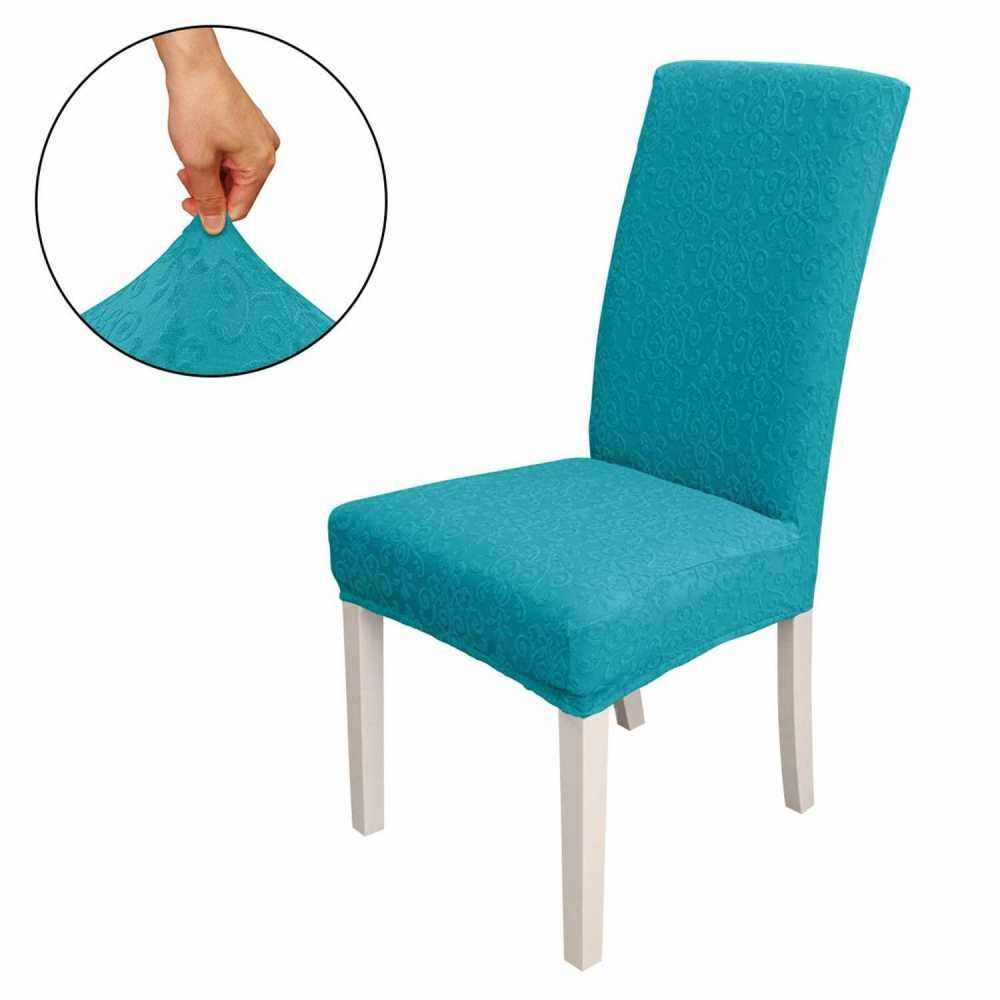 Dining Chair Slipcover, High Stretch Removable Chair Cover Washable Chair Seat Protector Cover, Jacquard Pattern, Chair Cover Slipcover for Home Party Hotel Wedding Ceremony, Peacock blue (Peacock Blue)