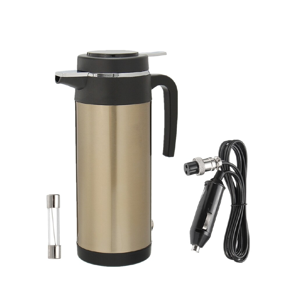 Automotive Tools & Equipment - 1200ml 12V Car Lighter Electric Heated Water Kettle Steel Bottle Cup - Car Replacement Parts