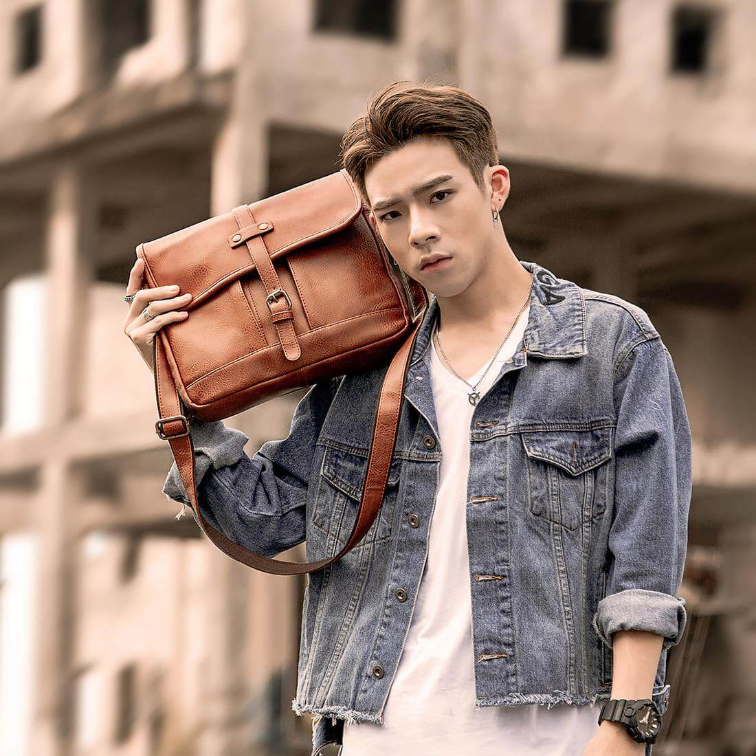 [M'sia Warehouse Direct] 2019 Korean Series Leather Men's Sling Bag Messenger Bag Cross Body Multifunction Casual Shoulder Pouch Handcarry Bag Lightweight Travel Bag Multipurpose Best Gift For Love One Kulit Halal