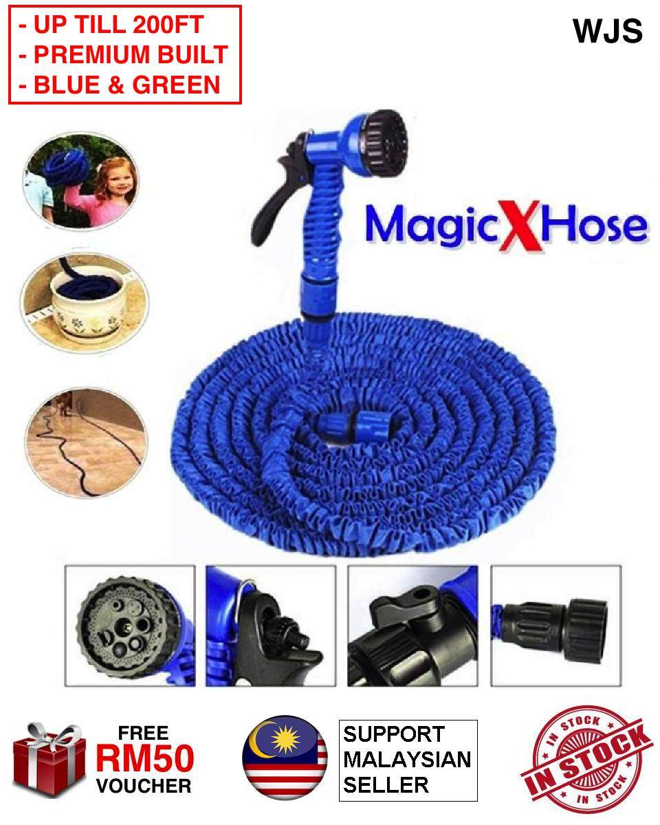(PREMIUM BUILT) WJS Magic Hose Heat-resistant Garden Expandable Multifunction Water Hose Pipe Paip Piping BLUE GREEN 25FT 50FT 100FT 150FT 200FT [FREE RM 50 VOUCHER]