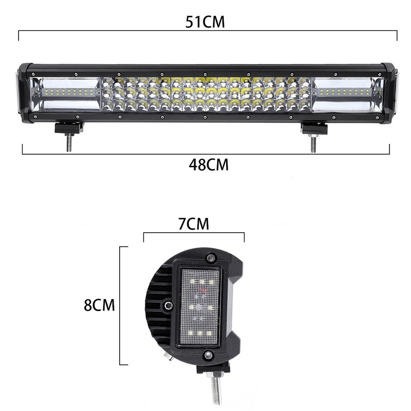 Car Lights - 20'' 680W Dual Side Shooter LED Work Light Flood Spot Offroad ATV Driving Lamp - Replacement Parts