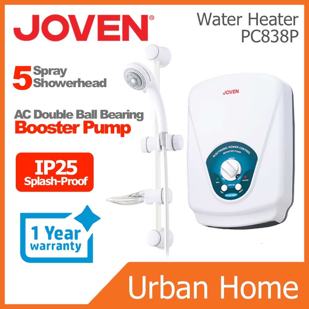 JOVEN Hot Shower Instant Water Heater with AC Double Ball Bearing Booster Pump (PC838P/838P)