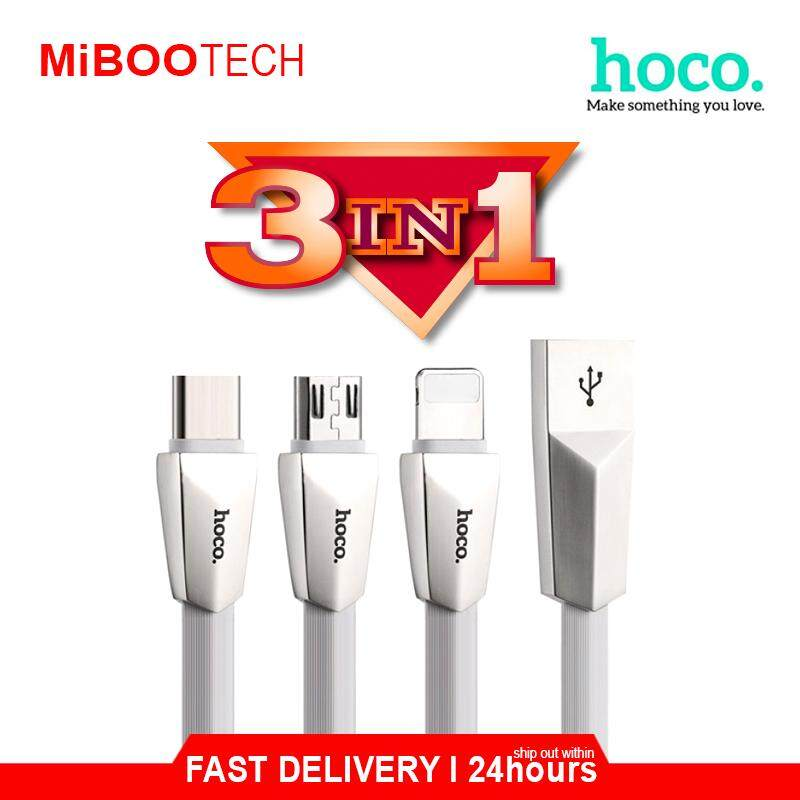 [Miboo] Original HOCO 3in1 2.4A Fast Data Charging Cable OTG iPhone / Huawei / Samsung - White