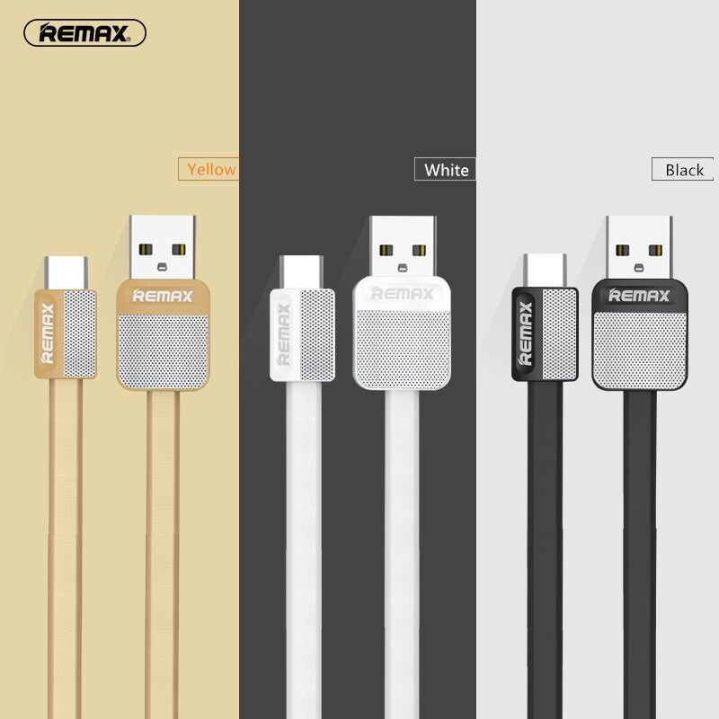 Mobile Cable & Chargers - Remax RC-044a Type-C USB Charger Charge Data Sync Transmission Cable 1M 1.3A Max - BLACK / WHITE / YELLOW